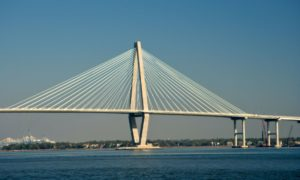 ravenel bridge is visible from eastside and north central parts of historic downtown charleston sc