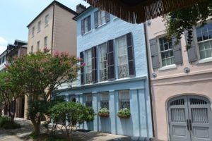 rainbow row in charleston sc as seen from a horse carriage tour